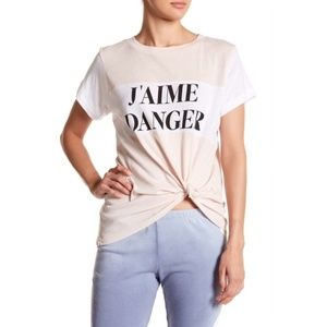 NWT WILDFOX J'aime Danger Colorblock Tee Size S
